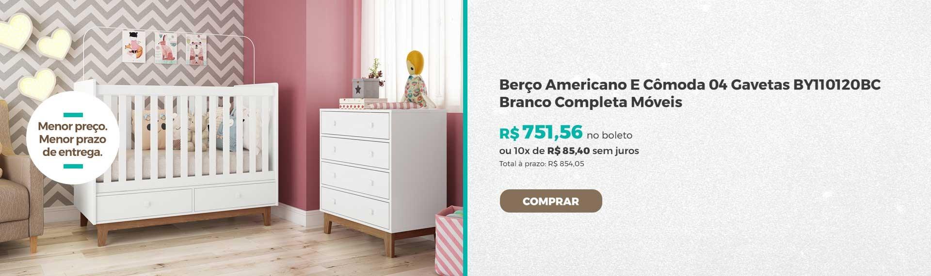 Berço Americano E Cômoda 04 Gavetas BY110120BC