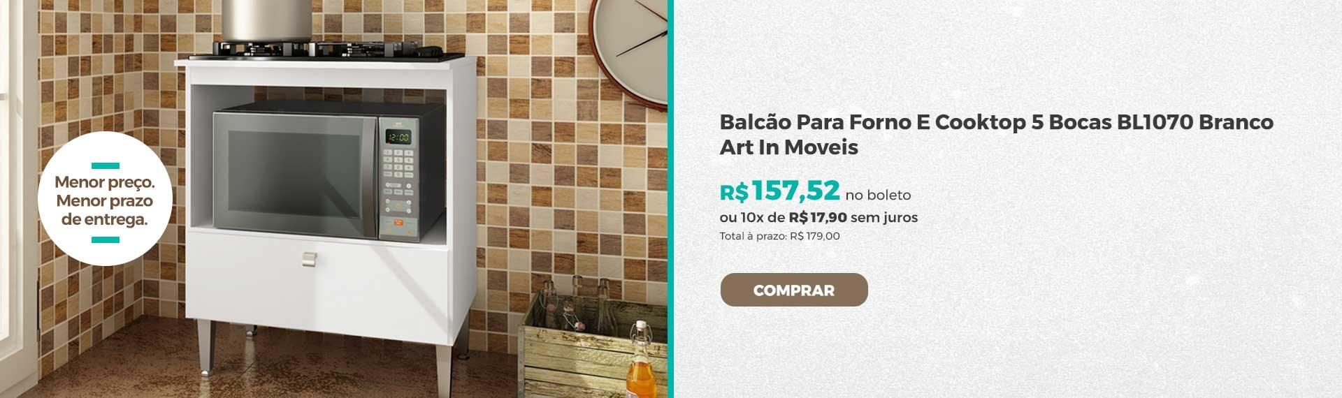 Balcao Para Forno E Cooktop 5 Bocas BL1070 Branco Art In Moveis