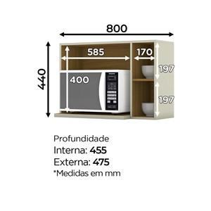 Aereo Para Microondas 100% MDF Essencia C557 Areia Nature Henn