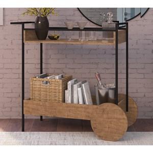 Aparador Bar Com Rodas Decorativas Steel Quadra 27853 Vermont Preto Fosco Artesano
