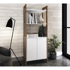 Armario 02 Portas Multiuso Escritorio Ou Closet AZ1009 Branco Nogal Tecno Mobili