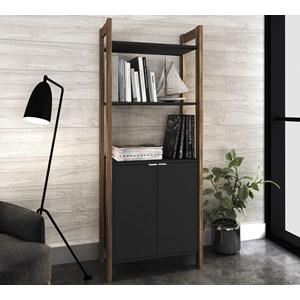 Armario 02 Portas Multiuso Escritorio Ou Closet AZ1009 Preto Nogal Tecno Mobili