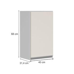 Armario Aereo 1 Porta 40 CM 100% MDF Kali Premium 3046.1 Branco Off White Nicioli