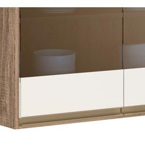 Armario Aereo 2 Portas 80 CM 100% MDF Kali Premium 3061.7 Carvalho Rust Off White Nicioli
