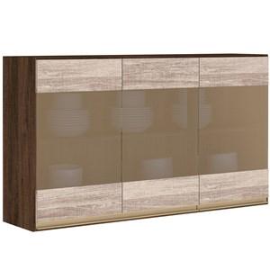 Armario Aereo 3 Portas Vidro 120 CM 100% MDF Kali Premium 3042.11 Amendoa Rust Arezzo Rust Nicioli