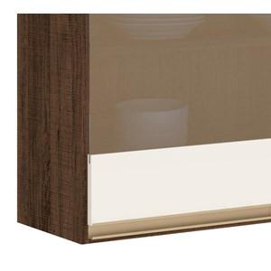 Armario Aereo 3 Portas Vidro 120 CM 100% MDF Kali Premium 3042.11 Amendoa Rust Off White Nicioli