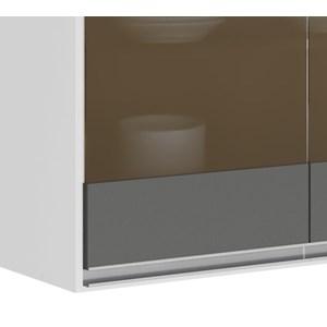 Armario Aereo 3 Portas Vidro 120 CM 100% MDF Kali Premium 3042.11 Branco Chumbo Cetim Nicioli