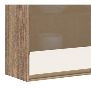 Armario Aereo 3 Portas Vidro 120 CM 100% MDF Kali Premium 3042.11 Carvalho Rust Off White Nicioli