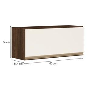 Armario Aereo Basculante 1 Porta 60 CM 100% MDF Kali Premium 3047.1 Amendoa Rust Off White Nicioli