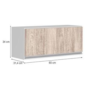 Armario Aereo Basculante 1 Porta 60 CM 100% MDF Kali Premium 3047.1 Branco Arezzo Rustico Nicioli
