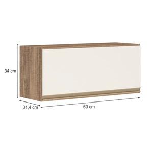 Armario Aereo Basculante 1 Porta 60 CM 100% MDF Kali Premium 3047.1 Carvalho Rustico Off White Nicioli