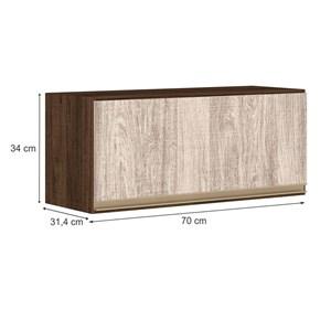 Armario Aereo Basculante 1 Porta 70 CM 100% MDF Kali Premium 3050.1 Amendoa Arezzo Rust Nicioli