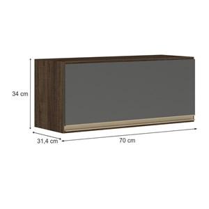 Armario Aereo Basculante 1 Porta 70 CM 100% MDF Kali Premium 3050.1 Amendoa Chumbo Cetim Nicioli