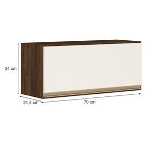 Armario Aereo Basculante 1 Porta 70 CM 100% MDF Kali Premium 3050.1 Amendoa Off White Nicioli