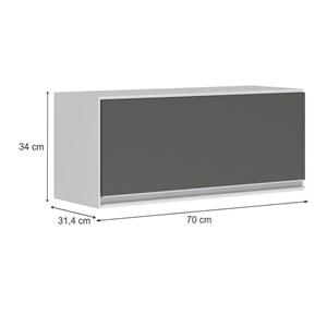 Armario Aereo Basculante 1 Porta 70 CM 100% MDF Kali Premium 3050.1 Branco Chumbo Cetim Nicioli