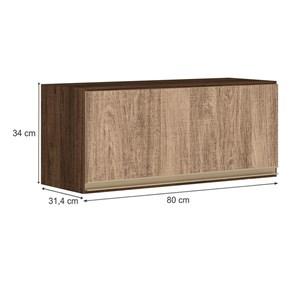 Armario Aereo Basculante 1 Porta 80 CM 100% MDF Kali Premium 3059.1 Amendoa Carvalho Rust Nicioli