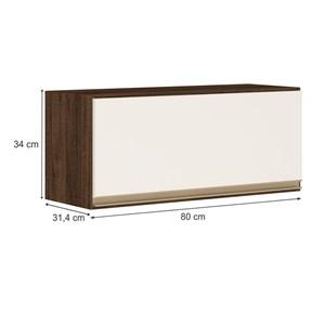 Armario Aereo Basculante 1 Porta 80 CM 100% MDF Kali Premium 3059.1 Amendoa Off White Nicioli