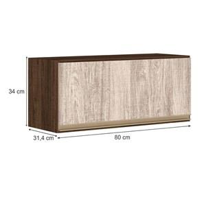 Armario Aereo Basculante 1 Porta 80 CM 100% MDF Kali Premium 3059.1 Amendoa Rust Arezzo Rust Nicioli