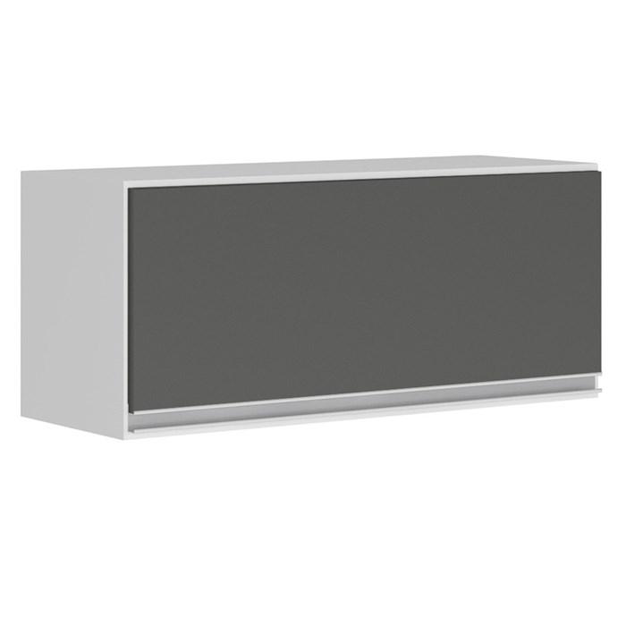 Armario Aereo Basculante 1 Porta 80 CM 100% MDF Kali Premium 3059.1 Branco Chumbo Cetim Nicioli