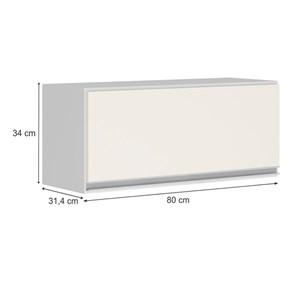 Armario Aereo Basculante 1 Porta 80 CM 100% MDF Kali Premium 3059.1 Branco Off White Nicioli