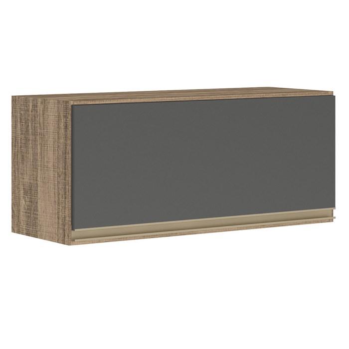 Armario Aereo Basculante 1 Porta 80 CM 100% MDF Kali Premium 3059.1 Carvalho Chumbo Cetim Nicioli