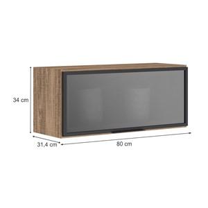 Armario Aereo Basculante Porta De Vidro 80 CM 100% MDF Kali Premium 3059.4 Carvalho Rustico Nicioli