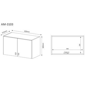 Armario Aereo Para Lavanderia 02 Portas Multiuso AM3103 Branco Tecno Mobili