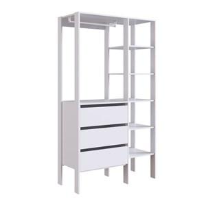 Armario Closet Multiuso e Escrivaninha CJ14 Branco PP Milani Store