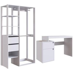 Armario Closet Multiuso E Escrivaninha CJ20 Branco PP Milani Store