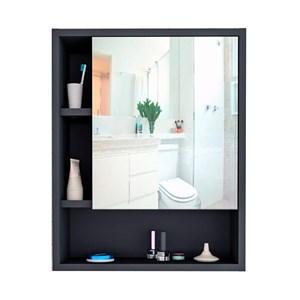 Armario De Banheiro Slin Com Espelho ARM5005 Preto Castanho APT Milani Store