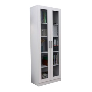 Armario Escritorio 02 Portas de Vidro ARM3003 Branco APT Milani Store