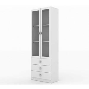 Armario Estante Para Escritorio Com Portas de Vidro ME4114 Branco Tecno Mobili