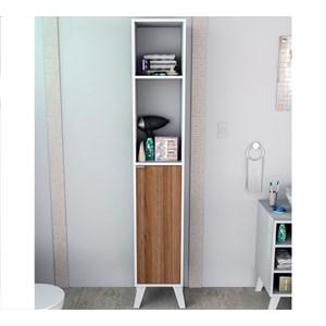 Armario Multiuso 1 Porta Slin ARM5003 Branco Castanho APT Milani Store