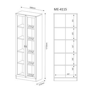 Armario Para Escritorio Com Portas de Vidro ME4115 Nogal Tecno Mobili
