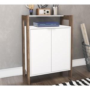 Balcão 02 Portas Multiuso AZ1008 Branco Nogal Tecno Mobili