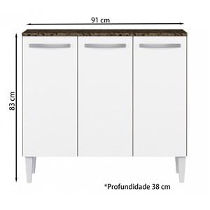 Balcao Com tampo 03 Portas Flavia Ambar Off White ARM Milani Store