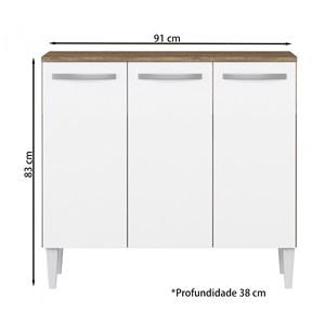 Balcao Com tampo 03 Portas Flavia Atacama Off White ARM Milani Store
