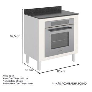 Balcão Para Forno Embutido 80 Cm 100% MDF Kali Premium 3102.21 Branco Off White Nicioli