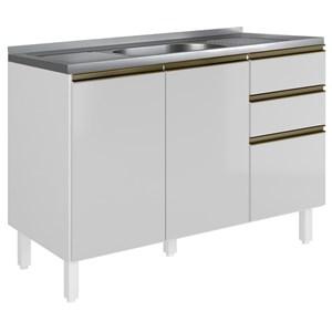 Balcao Para Pia 120 CM 100% MDF Kali Premium 3074.16 Branco Nicioli