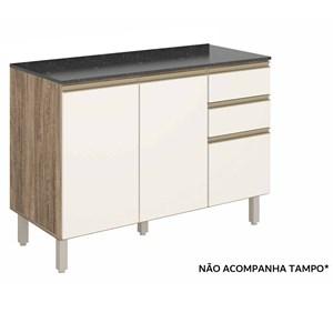 Balcao Para Pia 120 CM 100% MDF Kali Premium 3074.16 Carvalho Rust Off White Nicioli