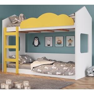 Beliche Montessoriana Com Nuvem BY700 Branco Amarelo Completa Móveis