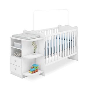Berço Comoda Infantil Doce Sonho 758 Branco Com Colchao Qmovi