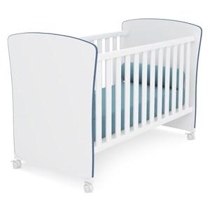Berço Mini Cama Infantil Doce Sonho 2484 Branco Azul Com Rodizios Qmovi