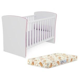 Berço Mini Cama Infantil Doce Sonho 2484 Branco Rosa Com Colchao Qmovi