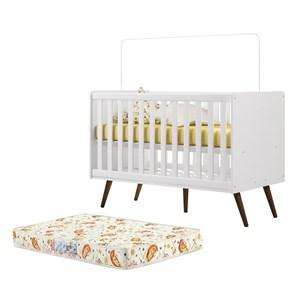 Berço Mini Cama Infantil Retro 2857 Branco Com Colchao Qmovi
