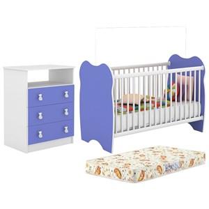 Berço Simples BB010 E Comoda CM120 Infantil Branco Azul Com Colchao DJD Moveis