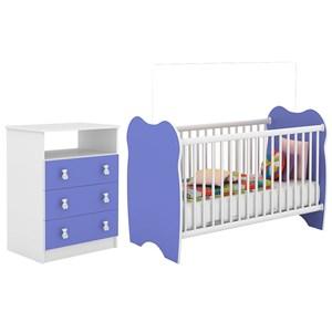 Berço Simples BB010 E Comoda CM120 Infantil Branco Azul DJD Moveis