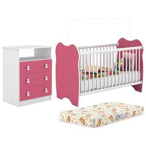 Berço Simples BB010 E Comoda CM120 Infantil Branco Rosa Com Colchao DJD Moveis