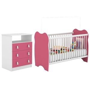 Berço Simples BB010 E Comoda CM120 Infantil Branco Rosa DJD Moveis