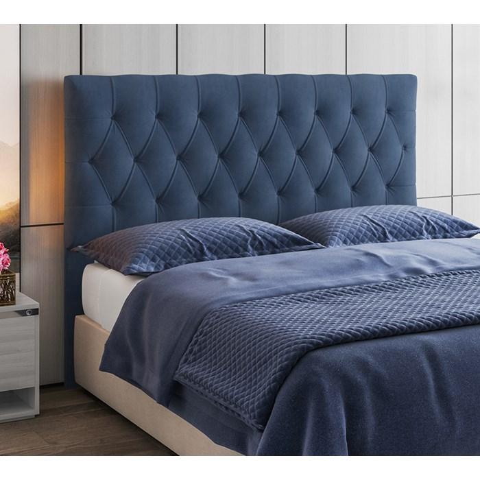 Cabeceira Box Casal Capitone 140 CM Suede Azul Modoval Estofados